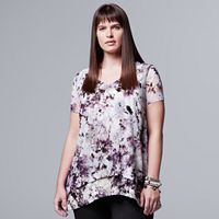 Plus Size Simply Vera Vera Wang Printed Chiffon Popover Top