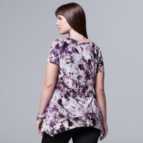 Plus Size Simply Vera Vera Wang Printed Chiffon Popover Top