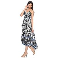 Petite Jennifer Lopez Printed Empire Maxi Dress