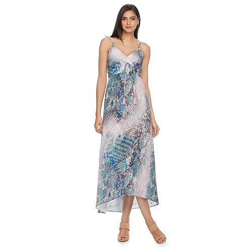 Petite Jennifer Lopez Printed Empire Maxi Dress
