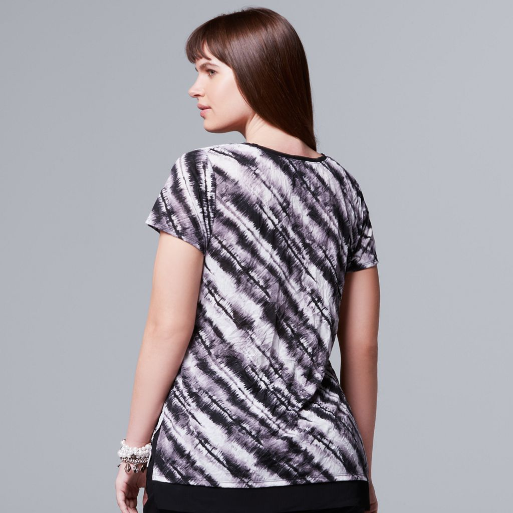 Plus Size Simply Vera Vera Wang Striped Crinkle Tee