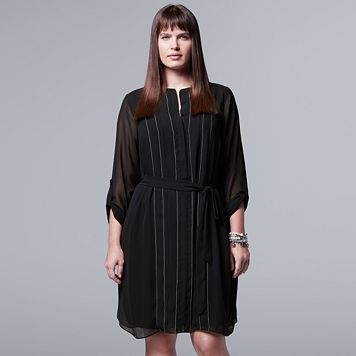 Plus Size Simply Vera Vera Wang Picot Embroidered Shirtdress