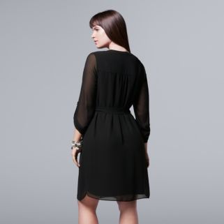 Plus Size Simply Vera Vera Wang Picot Embroidered Shirtdress