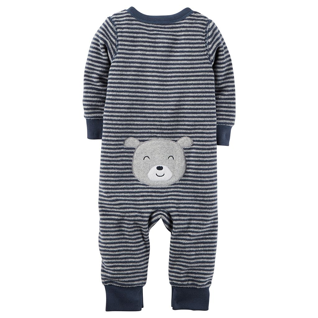 Baby Boy Carter's Striped Sleep & Play, Bear Hat & Bib Set