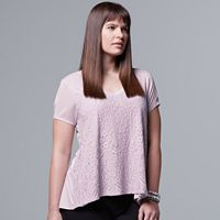 Plus Size Simply Vera Vera Wang Lace-Front Swing Tee