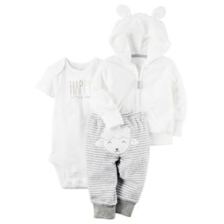 "Baby Carter's ""Happy Little One"" Bodysuit, Hooded Cardigan & Striped Pants Set"