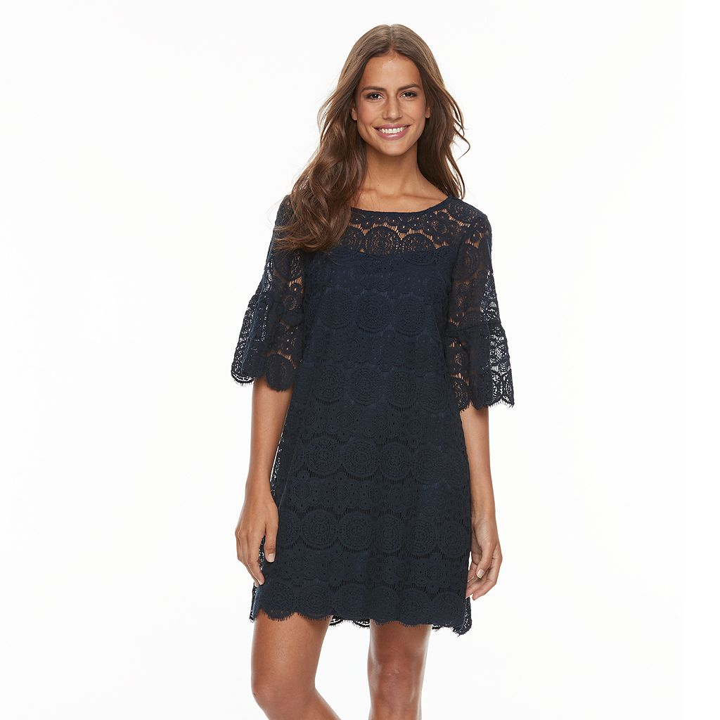 Women's Tiana B Scalloped Lace Shift Dress