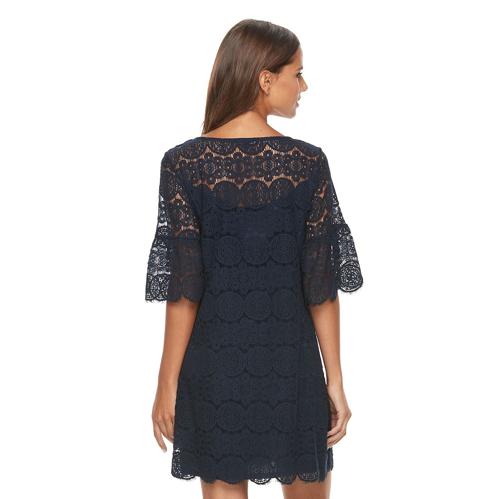 Women's Tiana B Scalloped Lace Shift Dress