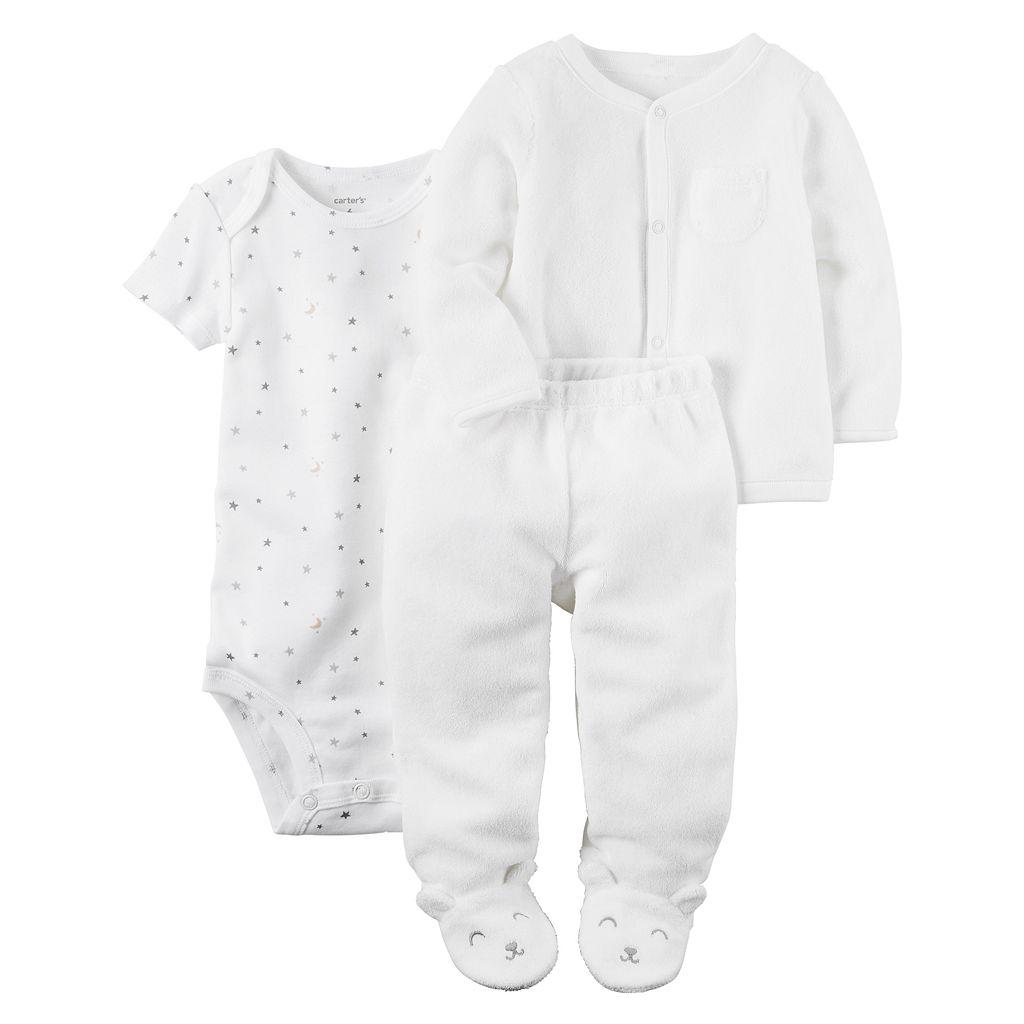 Baby Carter's Stars & Moon Bodysuit, Solid Cardigan & Pants Set