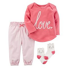 Baby Girl Carter's 'Love' Tee, Striped Pants & Kitty Socks Set