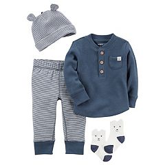 Baby Boy Carter's Thermal Henley, Striped Pants, Hat & Socks Set