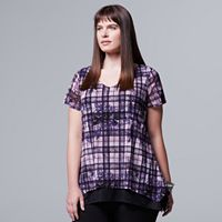 Plus Size Simply Vera Vera Wang Printed Shark-Bite Hem Tee