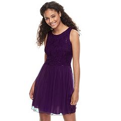Juniors' Speechless Sequin Lace Chiffon Skater Dress