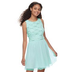 Juniors' Speechless Sequin Lace Chiffon Skater Dress