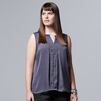 Plus Size Simply Vera Vera Wang Pleated High-Low Tank