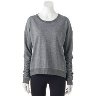 Juniors' SO® Perfectly Soft Shirred Long Sleeve Sweatshirt