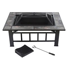 Navarro 37 in Square Outdoor Fire Pit 4 pc Set