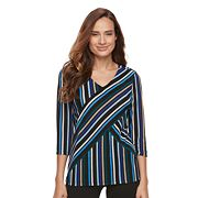 Petite Dana Buchman Print Bias Cut V-Neck Top