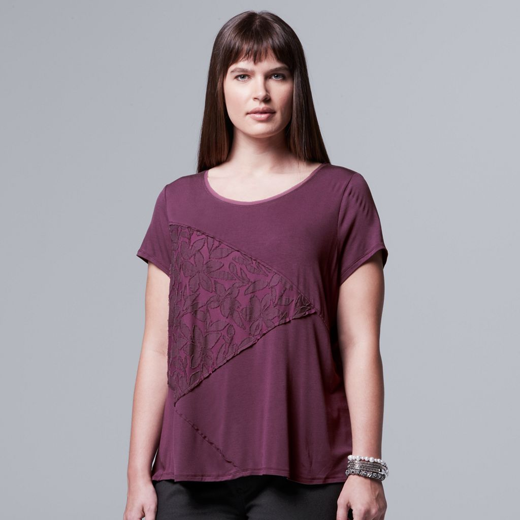 Plus Size Simply Vera Vera Wang Spliced Jacquard Tee