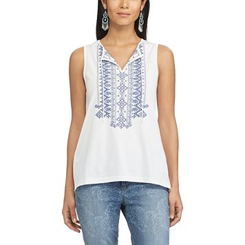 Women's Chaps Embroidered Splitneck Top
