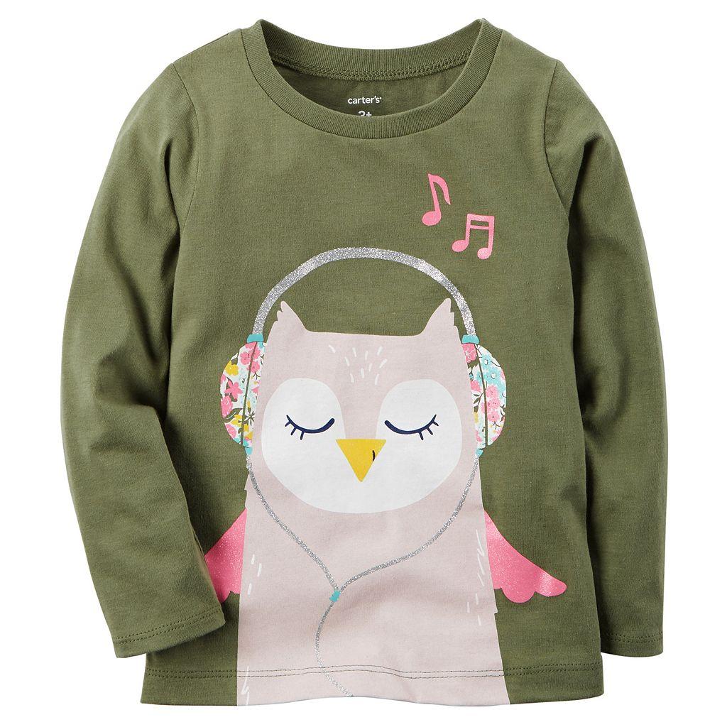 Toddler Girl Carter's Glittery Owl Graphic Tee