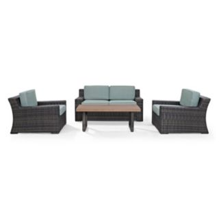 Crosley Furniture Beaufort Patio Loveseat, Chair & Coffee Table 4-piece Set