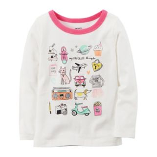 "Toddler Girl Carter's Long-Sleeve ""My Favorite Things"" Graphic Tee"