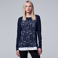 Women's Simply Vera Vera Wang Mock-Layer Lace Front Top