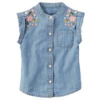 Toddler Girl Carter's Embroidered Denim Shirt