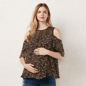 Maternity LC Lauren Conrad Floral Cold-Shoulder Top