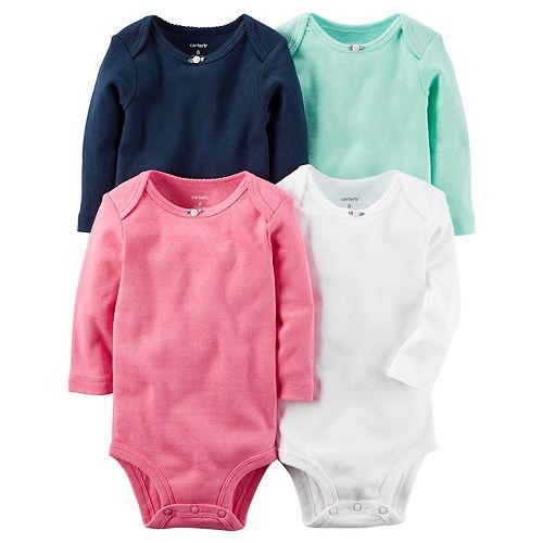0e5aa7dff Baby Girl Carter's 4-pk. Solid Long Sleeve Bodysuits