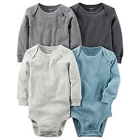Baby Boy Carter's 4 pkSolid Long Sleeve Bodysuits