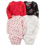Baby Girl Carter's 4-pk. Long Sleeved Printed Bodysuits
