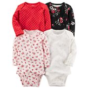 Baby Girl Carter's 4 pkLong Sleeved Printed Bodysuits