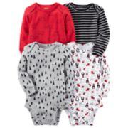 Baby Boy Carter's 4-pk. Long Sleeved Printed Bodysuits