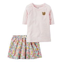 Toddler Girl Carter's Striped Tee & Floral Skirt Set