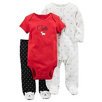 Baby Girl Carter's Scottie Dog Bodysuit, Polka-Dot Pants & Heart Print Sleep & Play Set