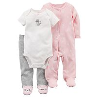 Baby Girl Carter's Kitty Cat Bodysuit, Pants & Sleep & Play Set