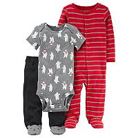 Baby Boy Carter's Polar Bear Bodysuit, Pants & Striped Sleep & Play Set