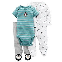 Baby Boy Carter's Penguin Striped Bodysuit, Pants & Sleep & Play Set