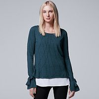 Women's Simply Vera Vera Wang Mock-Layer Jacquard Top