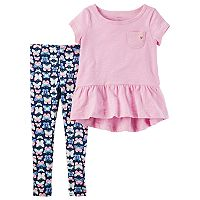 Toddler Girl Carter's Peplum Top & Butterfly Leggings Set