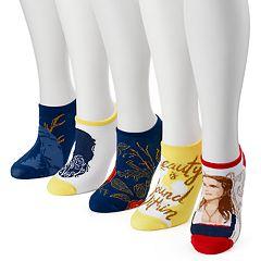 Women's 5 pkDisney's Beauty and the Beast No-Show Socks
