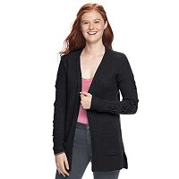 Juniors' Pink Republic Lace-Up Cardigan