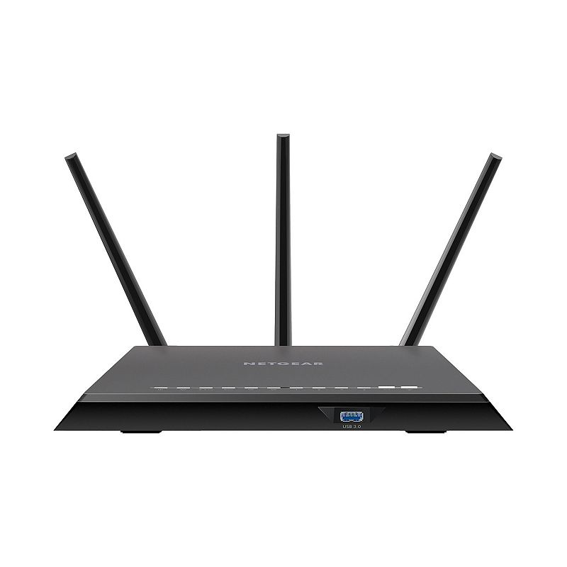 Netgear Nighthawk AC2300 Smart WiFi Router, Black From fast downloads to seamless streaming, this Netgear Nighthawk Smart Wi-Fi router is sure to impress. Watch the product video and learn more here. Supports MU-Mimo for simultaneous streaming and delivers extreme speed so you enjoy less lag and less buffering Newest generation Wi-Fi technology increases your Wi-Fi coverage while reducing dead spots Beamforming+, built-in high-powered amplifiers and external antennae maximize performance Frustration-free fast install using Netgear Up app gets you online in matter of minutes Access and control your router from anywhere using Netgear Genie Remote Access, ReadyCLOUD, OpenVPN and Kwilt app What's Included Router 3 detachable antennae Ethernet cable Power adapter 11.2 H x 7.3 W x 1.97 D Weight: 1.7 lbs. Connectors: USB 2.0, USB 3.0, 5 10/100/1000 (1 WAN & 4 LAN) Gigabit Ethernet ports Wireless: Ieee 802.11 b/g/n 2.4GHz, Ieee 802.11 a/n/ac 5GHz Manufacturer's 1-year limited warrantyFor warranty information please click here For information about the modified return policy, please click here Model no. R7000P-100NAS Size: One Size. Color: Black.
