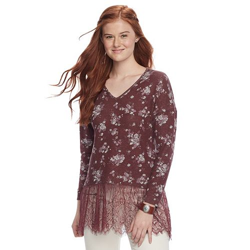 Juniors' Trixxi Lace Hem Tunic