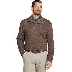 Men's Arrow Classic-Fit Herringbone Mockneck Fleece Sweater