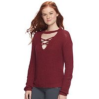 Juniors' Pink Republic Lace-Up Choker Neck Sweater