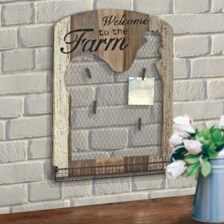 """Stonebriar Collection """"Welcome"""" Photo Clip Chicken Wire Wall Decor"""
