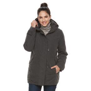 Women's KC Collections Hooded Faux-Fur Trim Microfiber Jacket